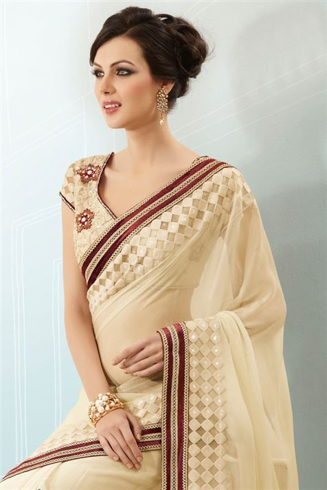 Grab this Beige Georgette party wear Saree @ FLAT 50% off. No coupon code required.