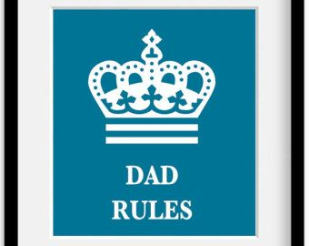 Father Dad Papa Rules.  Fathers Day Custom Personalized Family Member. Art Giclee Print. 11x14""