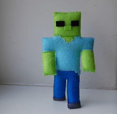 Minecraft zombie handmade felt stuffed toy {can't find original link} -   HEY !!!!  For more really cool minecraft stuff check out http://minecraftfamily.com/