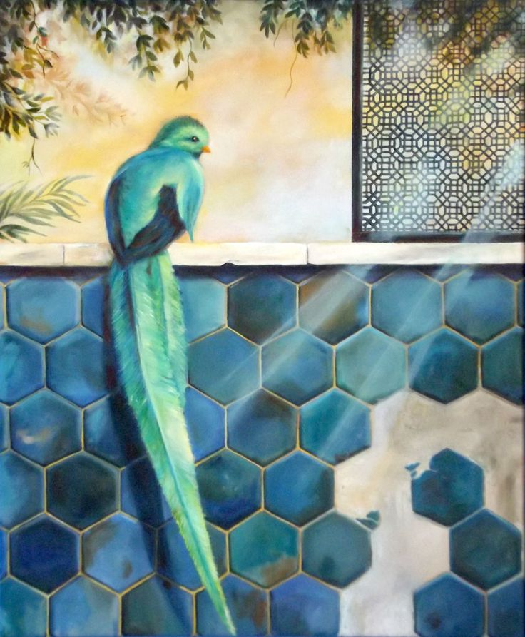 paradise-bird.jpg (Pittura),  50x60 cm da ollina Uccello del paradiso -olio su tela
