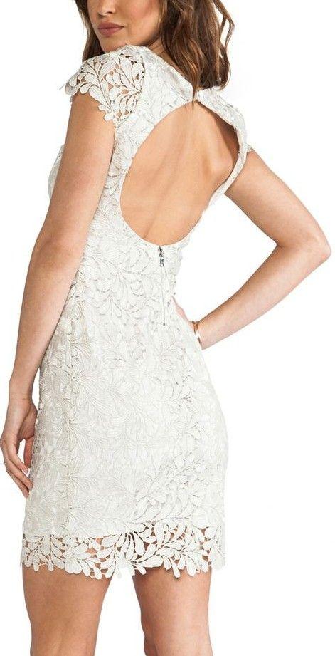 Alice + Olivia White Lace Dress