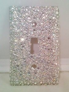 BLING-SILVER-GLITTER-WITH-CLEAR-AB-RHINESTONES-LIGHT-SWITCH-COVER