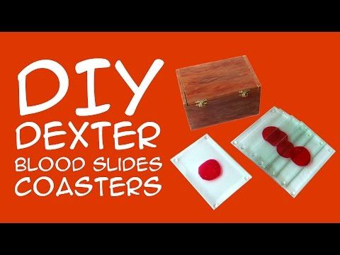 Get Caught Red Handed with Dexter Blood Slides DIY Coasters  If you make these Dexter blood slides coasters, you might not want to hide the incriminating evidence! I'm not sure if you will have enough room in your air conditioner for this box and you might want to get caught with these awesome blood slide coasters anyway. If you are a fan of the television series or Dexter books, this craft is a great way to show your fandom.