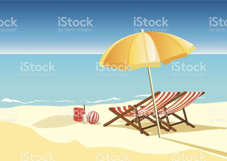 Lato Plaża z parasol i krzesła stockowa ilustracja wektorowa royalty-free
