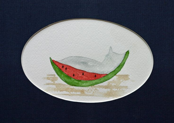 Grey cat in watermelon original watercolor, small art, simple, children's art, simple, matted, kitchen art, fruit, summer, picnic, nursery by TerraBlueArt on Etsy