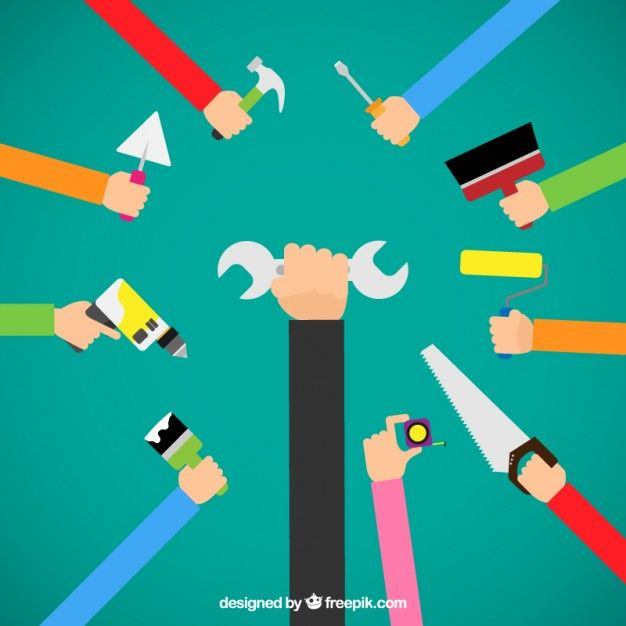 Hands with tools Free Vector