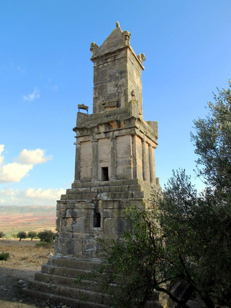 The 2nd century BC Numidian-Punic Mausoleum of Ateban at Dougga, is said to be Tunisia's finest pre-Roman monument. A bilingual Numidian and Punic-Libyan Inscription found here enabled the decipherment of the Numidian alphabet.