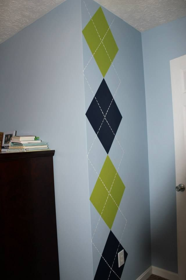 Samuel's Nursery = Hand-painted argyle wall paint
