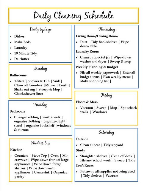 Cleaning schedule, I'm over the get it all done in one day deal!