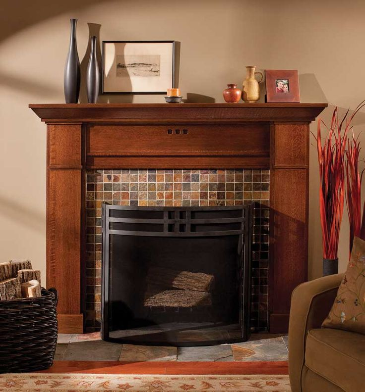 fireplace with mantel and craftsman tile | ... in quarter-sawn red oak, in a new mantel from Dura Supreme Cabinetry