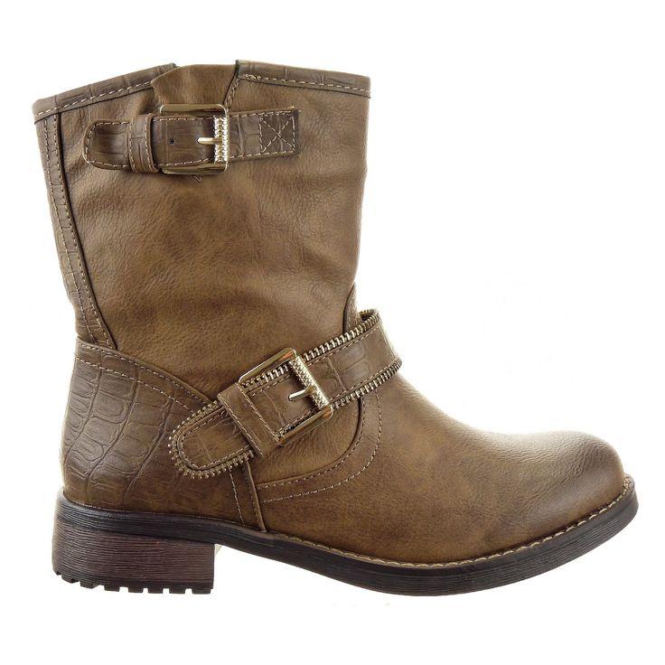 Sopily - Chaussure Mode Bottine Cavalier Low boots Montante femmes boucle Métallique Talon bloc 3 CM - Intérieur fourrure synthétique - fourrée - UK 3 - Khaki/Or - FRF-8166 T 36