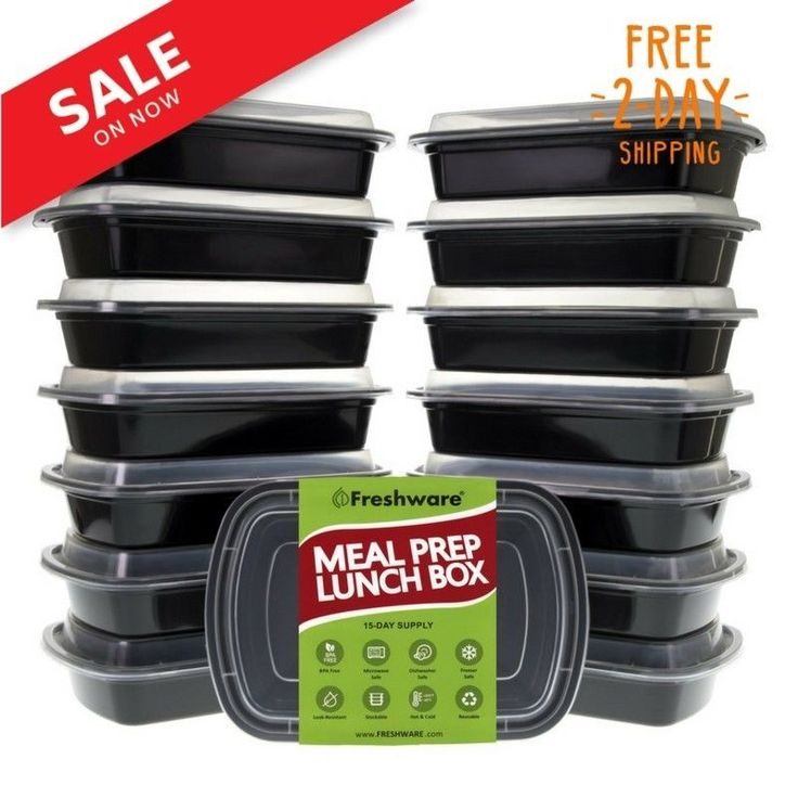 Freshware 15-Pack 1 Compartment Bento Lunch Boxes with Lids - Stackable Reusa... #Freshware