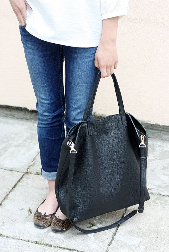 DOMI Top Zip Black Leather Tote Bag by MISHKAbags on Etsy