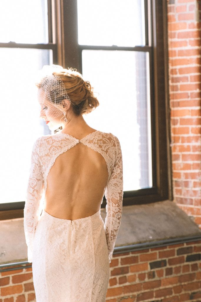 Backless Bridal Lace Dress and Blush Earrings