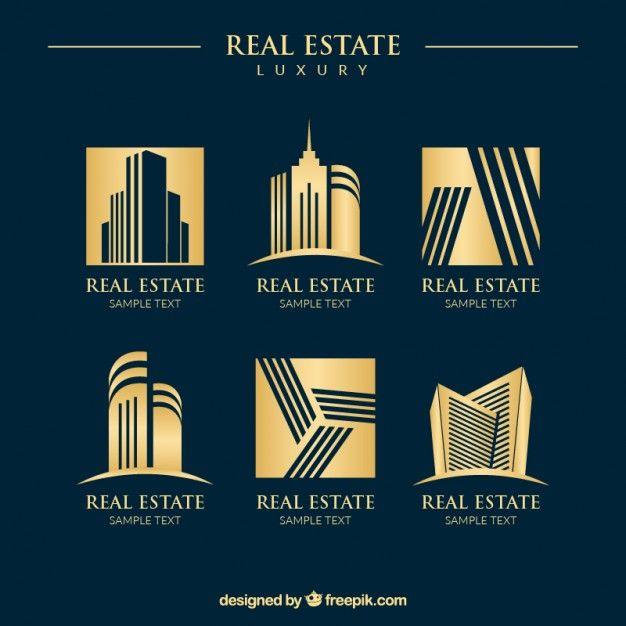 Luxury golden real estate logos Free Vector