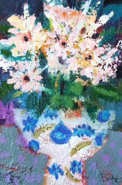 Francis Boag, Vee's vases with White Flowers, Mixed Media | Scottish Contemporary Art