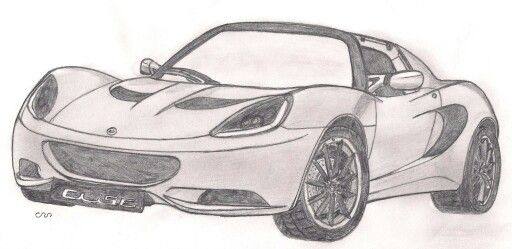 Lotus Elise, cars, sketch, drawing, illustration