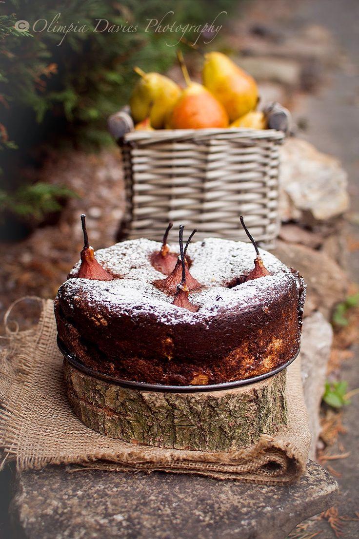"""Pomysłowe Pieczenie: Czekoladowe ciasto bezglutenowe z """" pijaną gruszką """""""