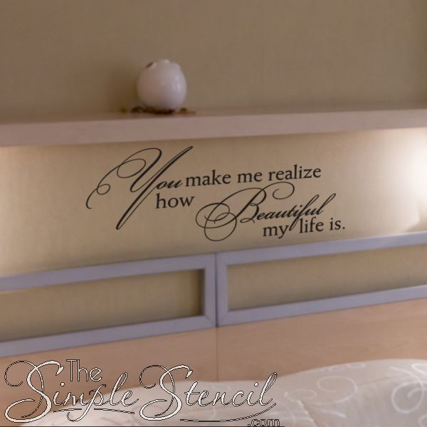 A romantic custom vinyl wall quote decal for your master bedroom... looks beautiful & The 88 best Romantic Wall Art | Love Inspired Wall Quotes Decals ...