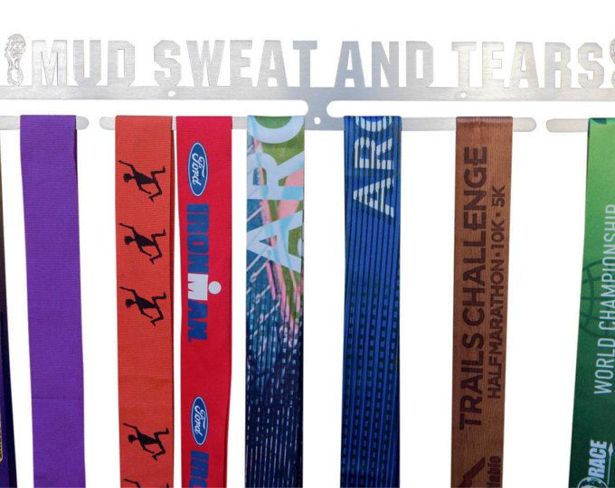 Mud Sweat and Tears medal holder. Show off your Spartan race, mud run, Warrior dash, trail run and ultra run finisher medals