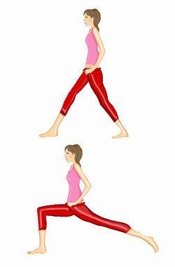 Les fentes : Debout, un pied décalé vers l'avant de 1m, les mains sur vos hanches.  Inspirez et effectuez une flexion de la jambe avant le tronc le plus droit possible. Lors de la fente, votre cuisse déplacée vers l'avant doit se stabiliser à l'horizontale. Revenez en position initiale et expirez. Recommencez avec la même jambe.  Programme :  - Débutante : 3 X 10 répét. avec 2 min de repos.  - Intermédiaire : 4 X 12 répét. avec 1 min 30 de repos.  - Confirmée : 5 X 16 répét. avec 1 min de…