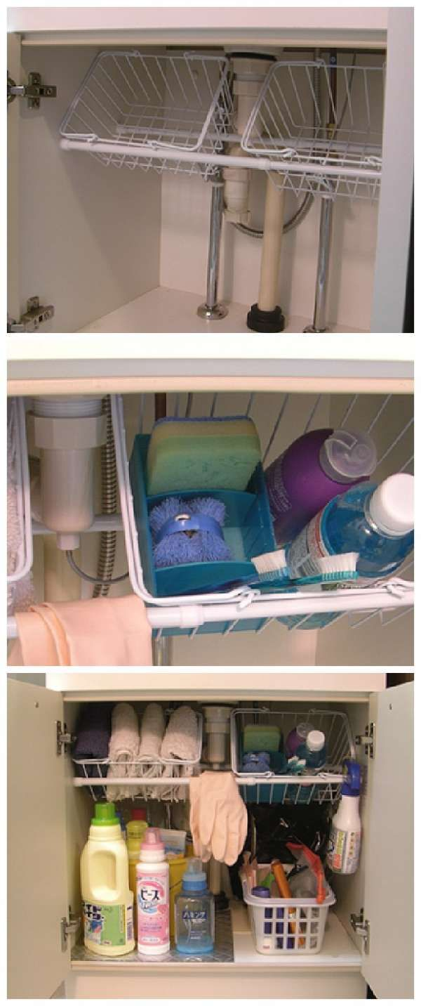 Un rangement pratique pour les produits ménagers.  13 Utilisations inattendues des paniers en plastique