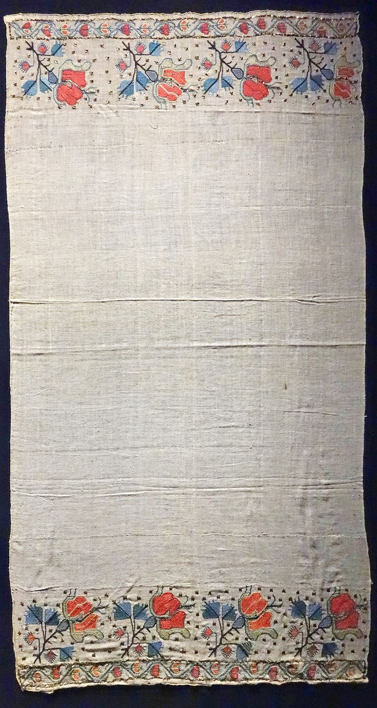 Embroidered 'makrama' (napkin) or 'peşkir' (hand towel), late-Ottoman, 19th century.  From Anatolia.  'Two-sided embroidery' in silk and silvery metal strips on cotton.  (Museum für Völkerkunde, Dresden).