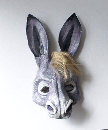 Donkey Mask, Donkey, mule, animal mask, wearable, paper mache by ArtisanMasks on Etsy