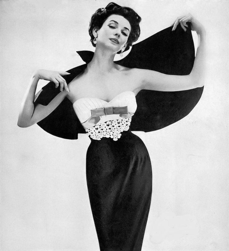 1957 Dorian Leigh, Lilli Ann ensemble, Harper's Bazaar