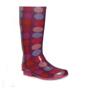 79226  Girls Multi Coloured Polka Dot Wellington Boot on a Low Heel   £9.99 www.shoezone.com  #girls #pink #polka #dots #wellies #wellingtons #fashion #rain #snow #autumn #winter