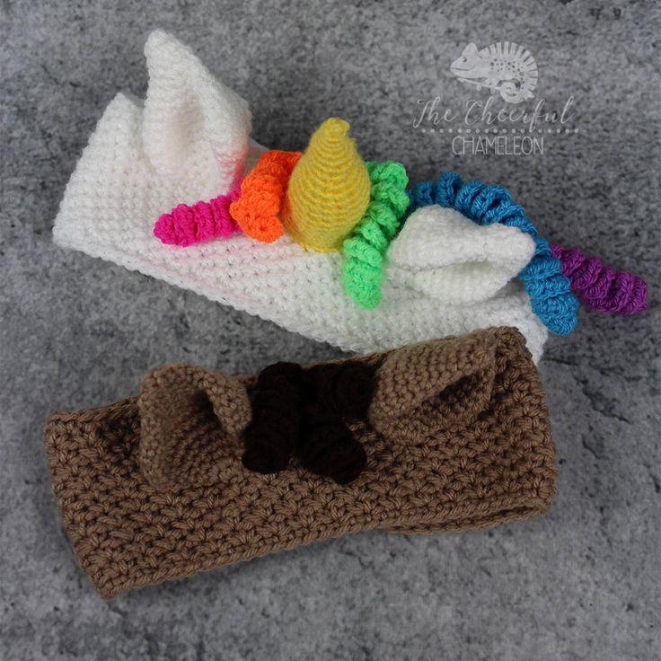 Unicorn ear warmer crochet pattern - instant download - horse crochet pattern - ear warmer crochet pattern - headband pattern by TheCheerfulChameleon on Etsy