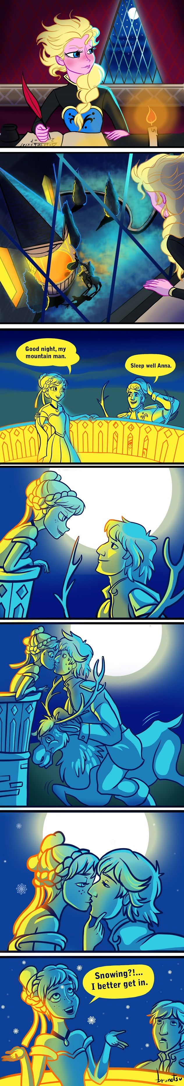Anna, Elsa, Kristoff, & Sven Art I can see this coming from Aladdin.