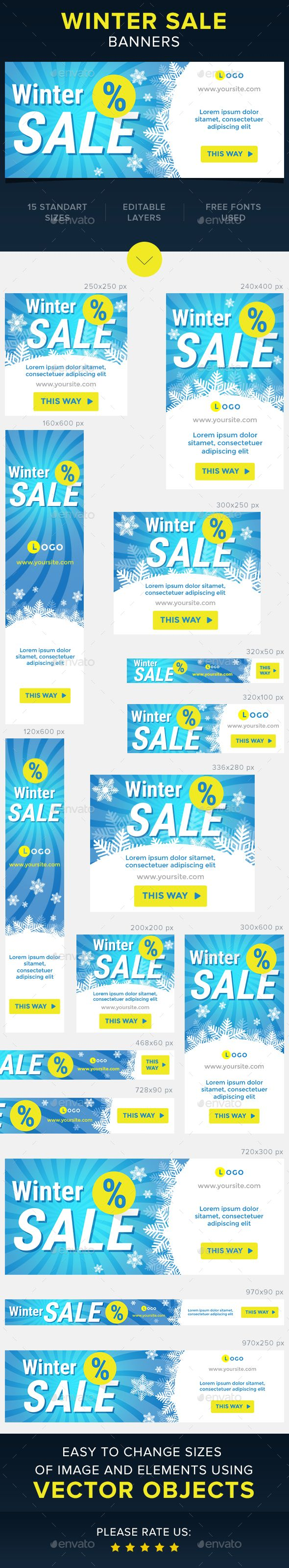 Winter Sale Web Banners Template PSD #design #ads Download: http://graphicriver.net/item/winter-sale-banners/13899609?ref=ksioks