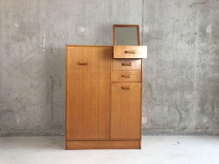 British Oak Tallboy Wardrobe with Pop Up Mirror by G Plan 1950s