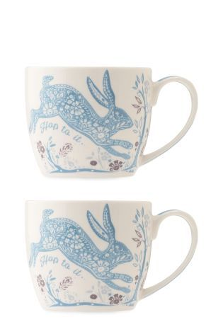 Buy Set Of 2 Teal Hare Mugs from the Next UK online shop