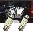 2X White 36MM 3 LED 5050 SMD Festoon Dome best Car Light Interior Lamp Bulb 12V