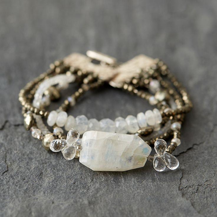 Quartz & Pyrite Strata Bracelet
