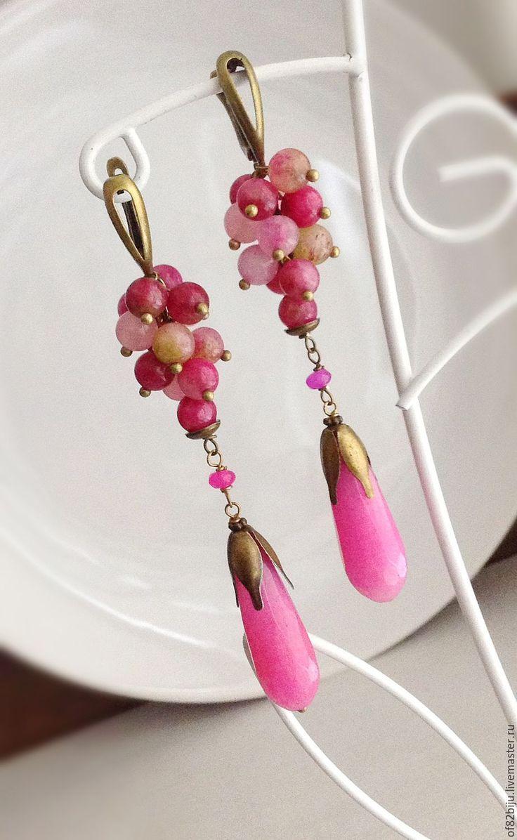 """Peony Earrings / Серьги """"Пионы"""" - фуксия, яркие серьги, серьги грозди, Длиные серьги, нарядные серьги"""