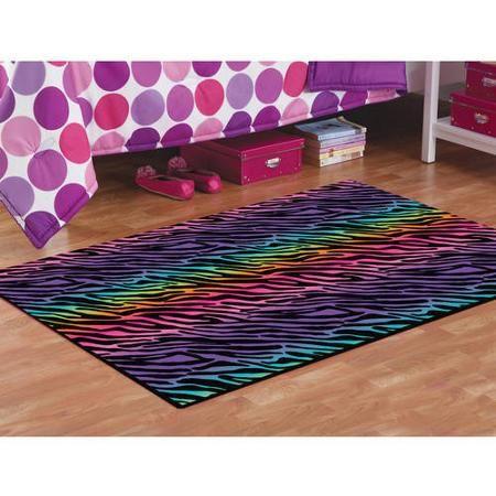 Your zone rainbow zebra faux mink rectangular rug multi for Zebra room decor walmart