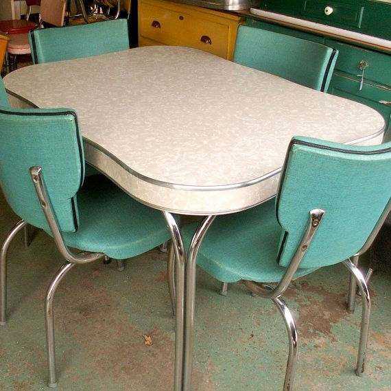 Medium image of vintage formica chrome kitchen table and chairs
