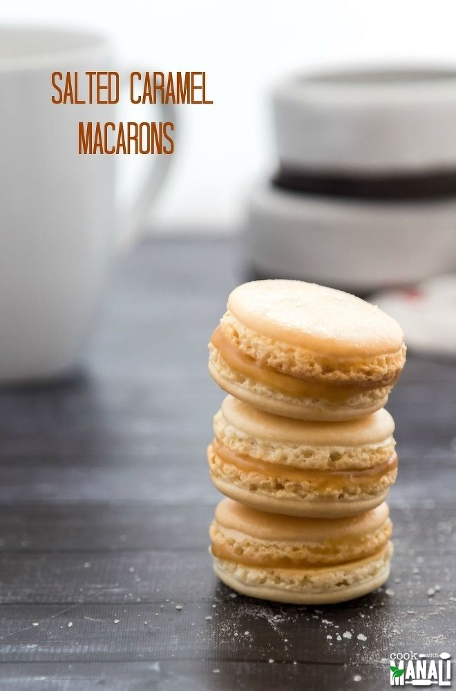 Salted Caramel Macarons - classic french cookies with a salty caramel center! Find the recipe on www.cookwithmanali.com
