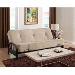 Maybe this would be a good futon for the office. Reviews say the mattress is really comfy, and could easily be styled up a bit with some pillows and a throw.