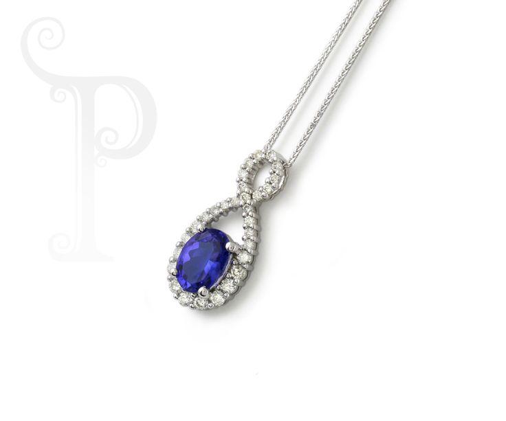 Custom Made 18ct White Gold Diamond Infinity Pendant, Set With a Oval Cut Tanzanite