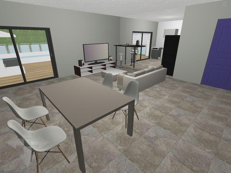 Plan 3D : Salon + Salle à Manger Logiciel : Home Design 3D Gold