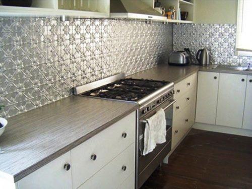 Pressed Tin Panel Kitchen Splash Back Looks Great!