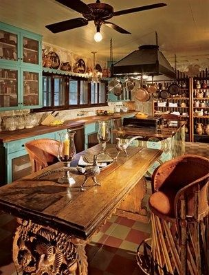 Decor To Adore: Spanish Colonial Interiors I Love Those Turquoise Cabinets