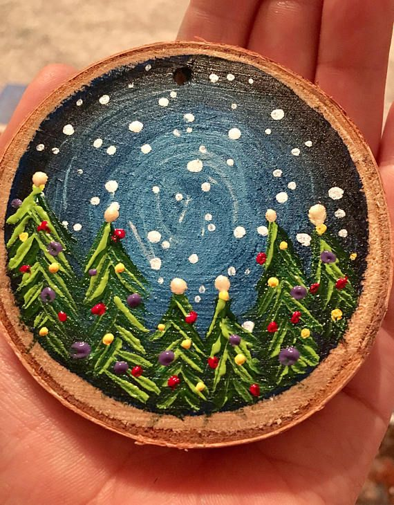 Hand Painted Christmas Tree Wood Slice Ornament Night Sky