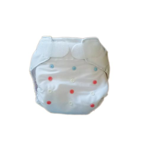 AI2 mosható pelenka - Fehér <-------> White  Bright white AI2 cloth diaper. The waist can be fixed with hook and loop. It has laundry and crossover tabs too. We can set the size of the diapers with snaps. The inner layer with absorbent core is attached to the diaper cover with snaps. Thanks for the prefold holders the extra insert won't slip away. With wide spreader!  Size:13 kg - 18 kg