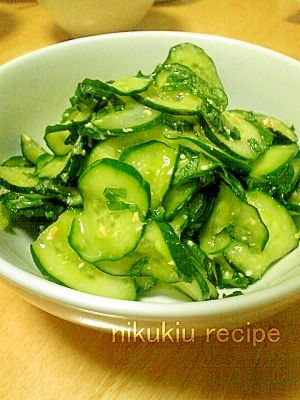 """Easy & Yammy!Cucumbers pickled with shiso & miso"" - japanese recipe/簡単おいしい!しそ味噌きゅうり"