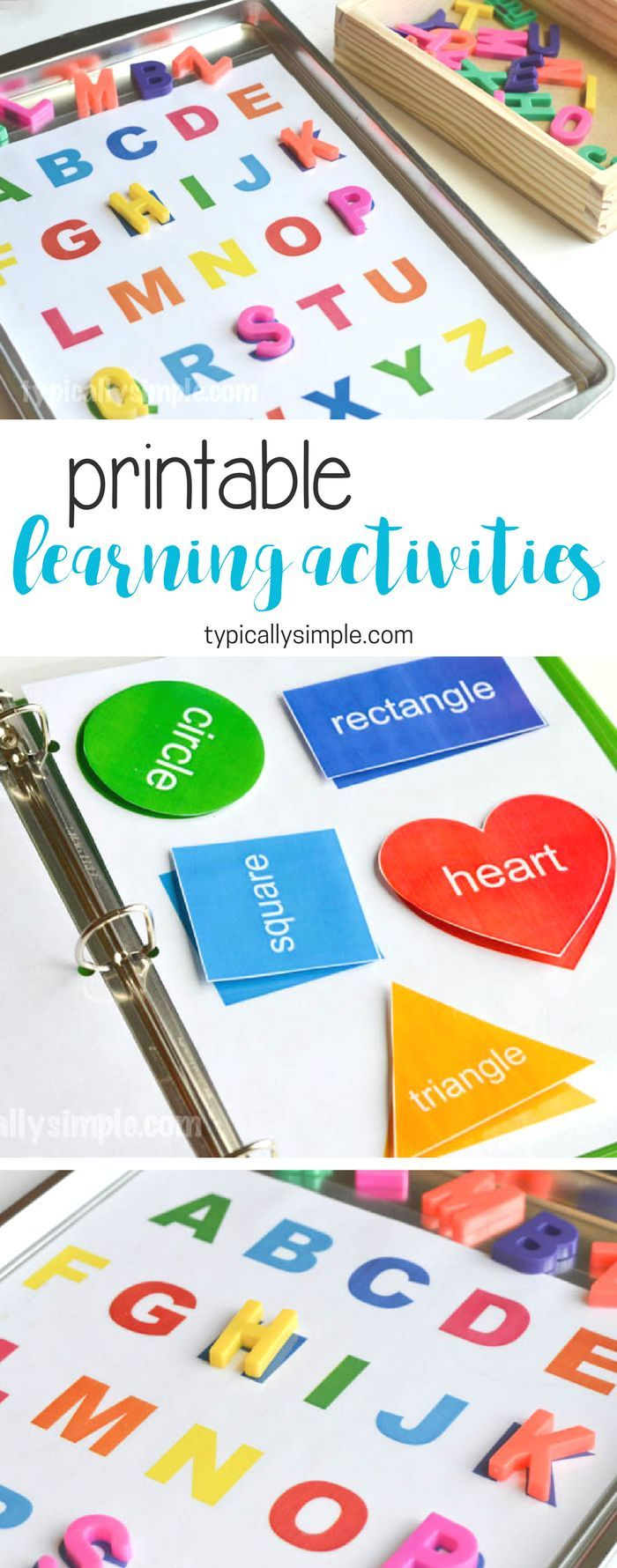 Create a preschool learning activities binder with a free printable for letters and shapes. (ad)